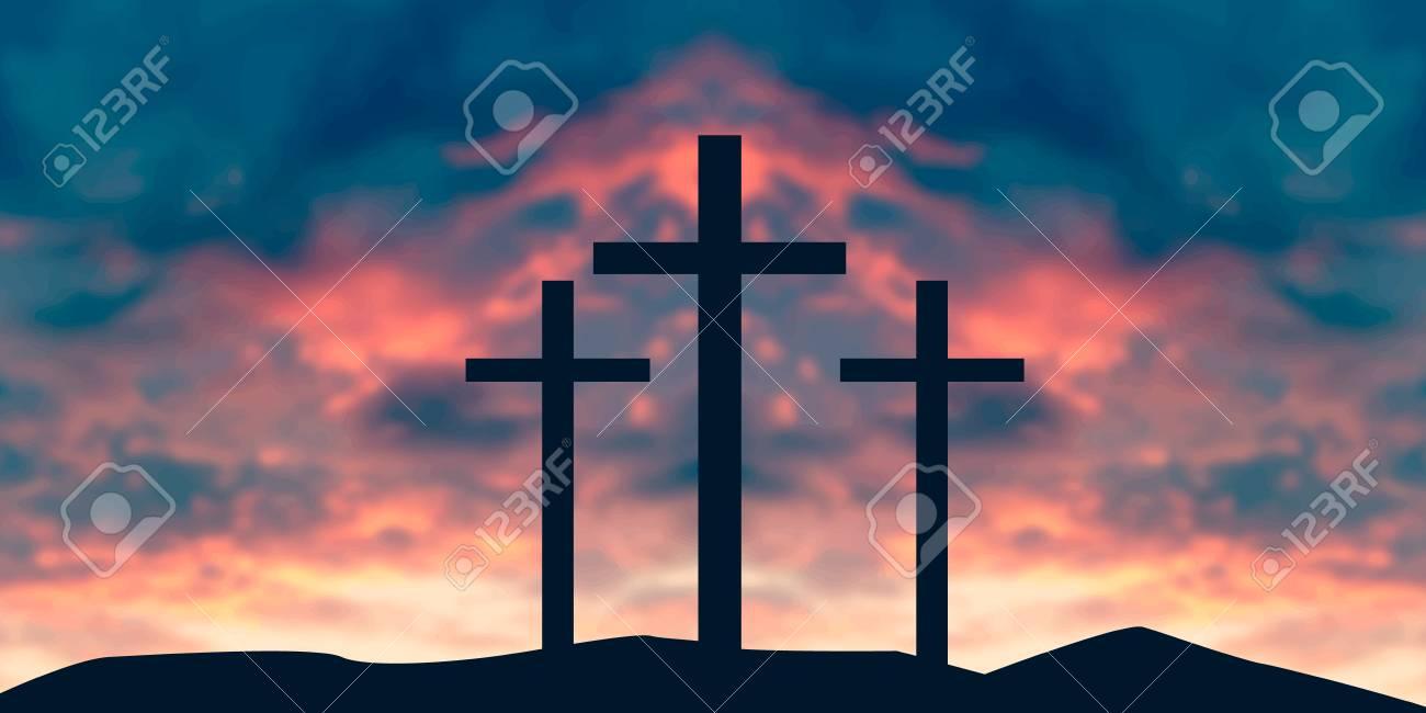 Crucifixion Of Jesus Christ - Cross At Sunset vector illustration - 107504654