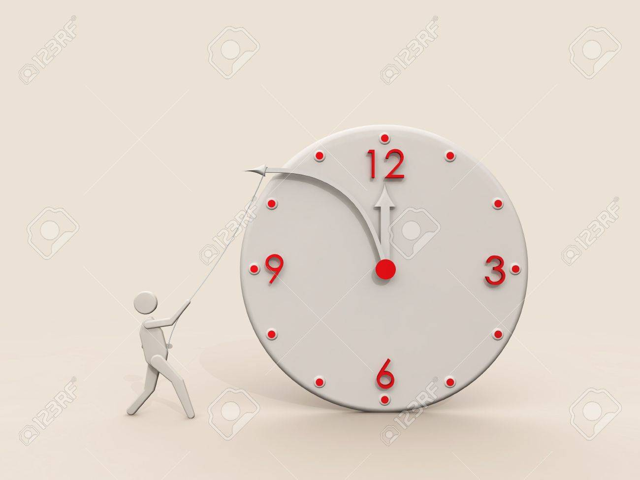 Stop time. Concept clock, 3D render Stock Photo - 3958548