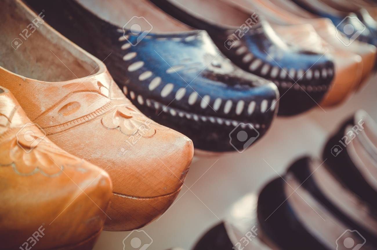 Typical Spanish Handcrafted Wooden Shoes Called Zuecos Form Two