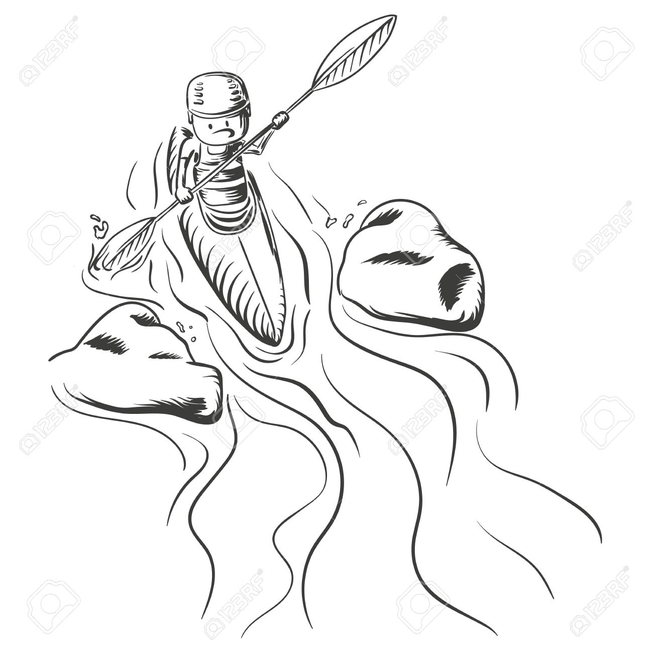 Hand Drawn Illustration Of Kayaking A Man Going Down The River Stock Vector