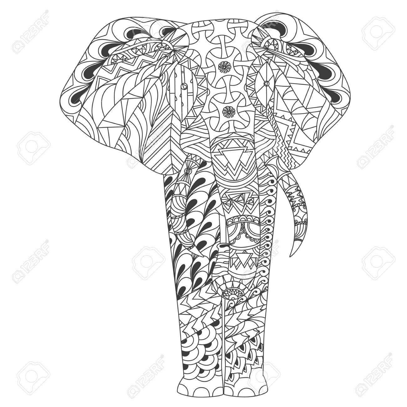 patterned elephant inspired style illustrion royalty free cliparts