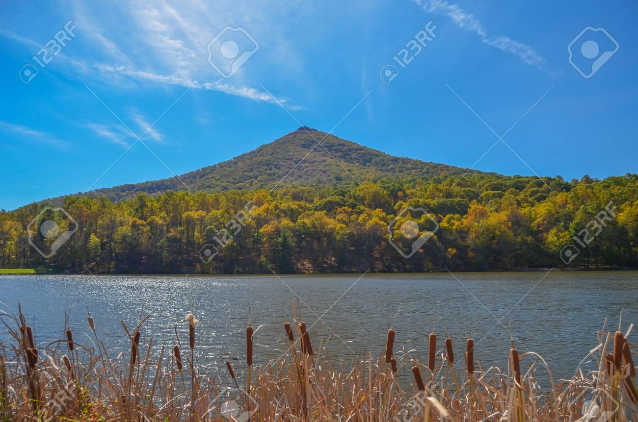 Sharptop Mountain and Lake Abbott along the Blue Ridge Parkway