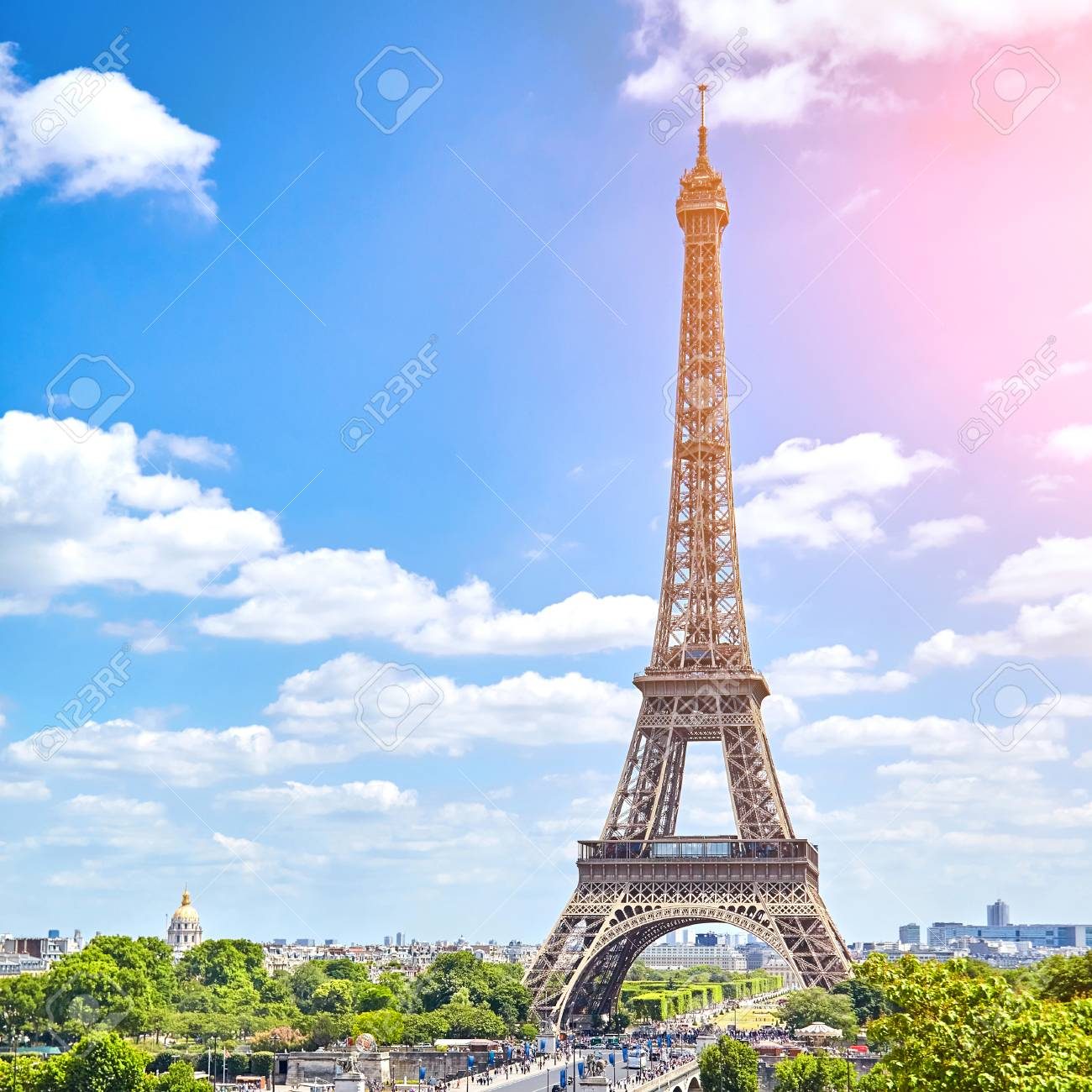 Beautiful View On Eiffel Tower Paris France Sunny Summer Day Stock Photo Picture And Royalty Free Image Image 102056268