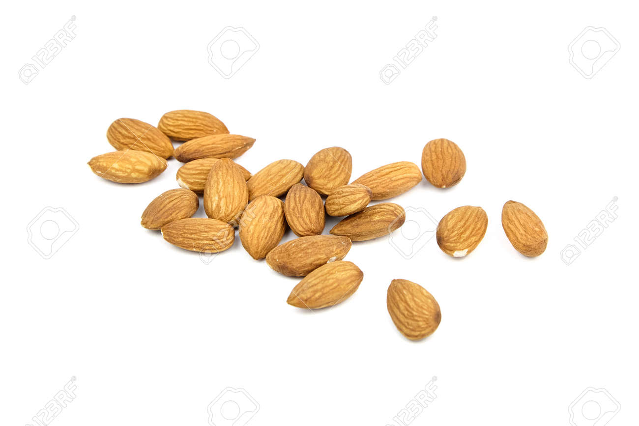 Almond nuts isolated on white background. Heap of scattered almond nuts - 171629705