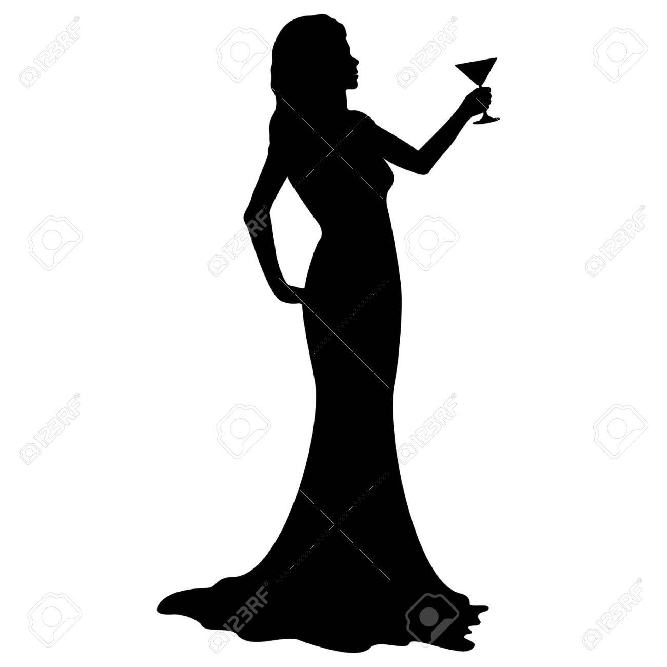 Silueta de mujer con vestido de noche