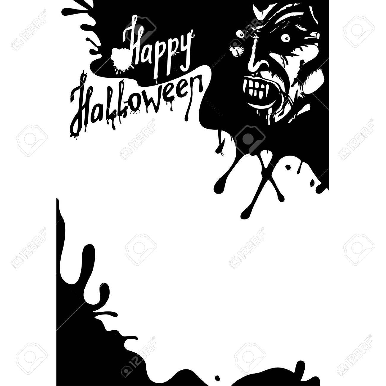 Halloween Vampire Greeting Card. Or Party Flyer With Copy Space ...