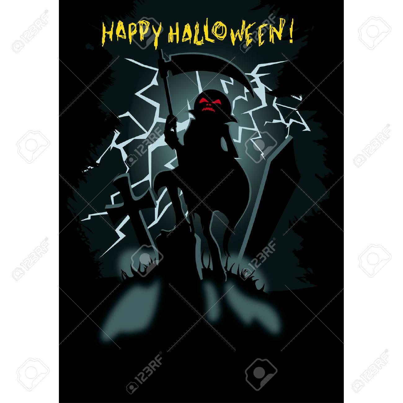 Halloween Poster With Siluette Pumpkin Head Jack The Scythe On Dark Cemetary Lightning