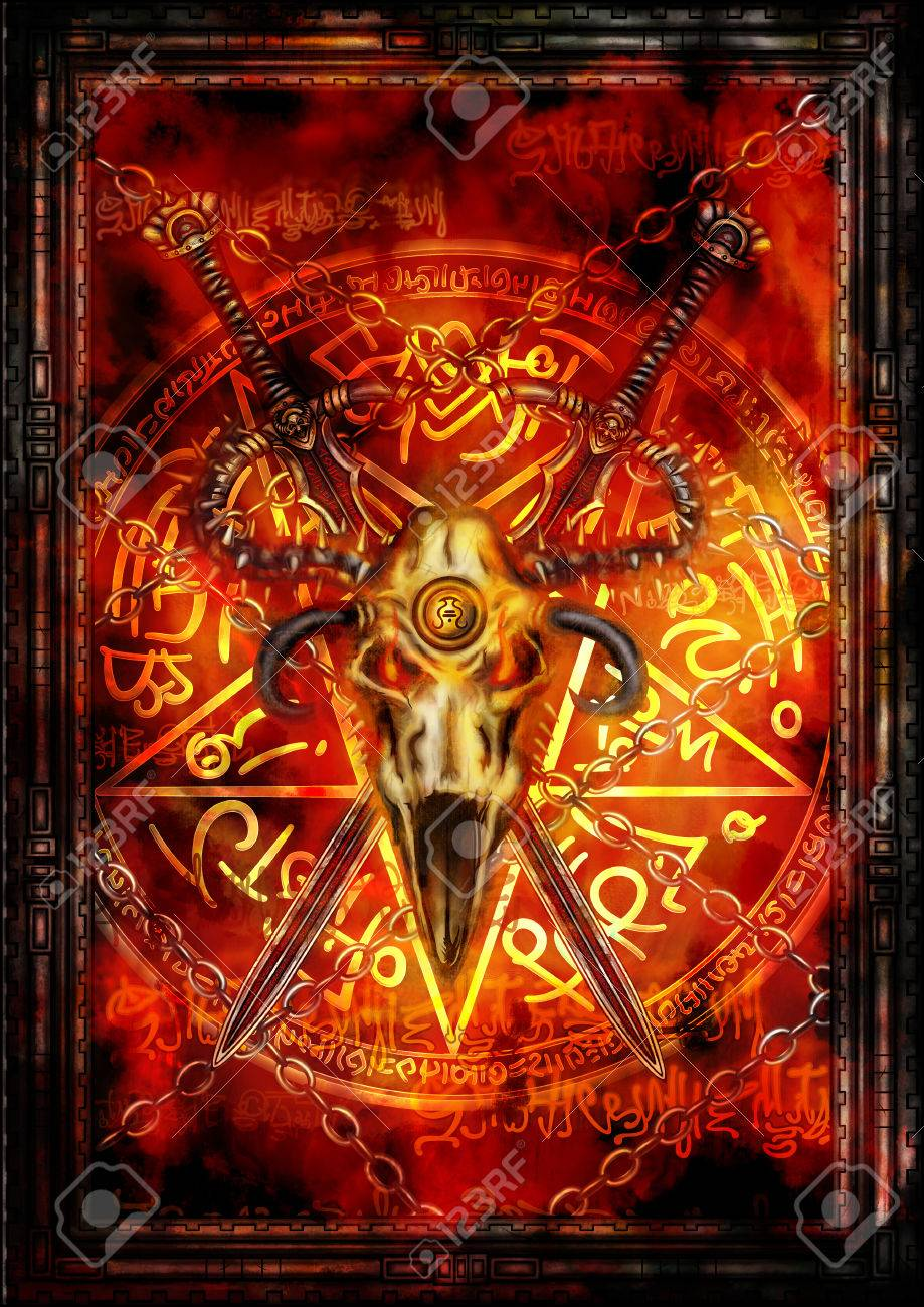 Illustration fantasy composition with swords, demonic skull, pentagram and fire background - 52376544