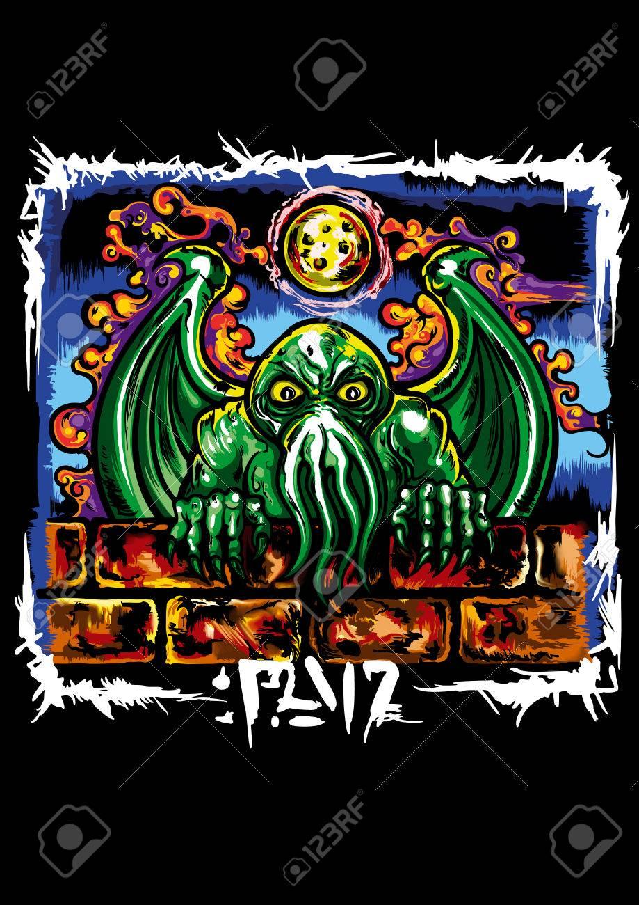 Ilustracion Un Monstruo Con Tentaculos De Pulpo Y Alas De Dragon