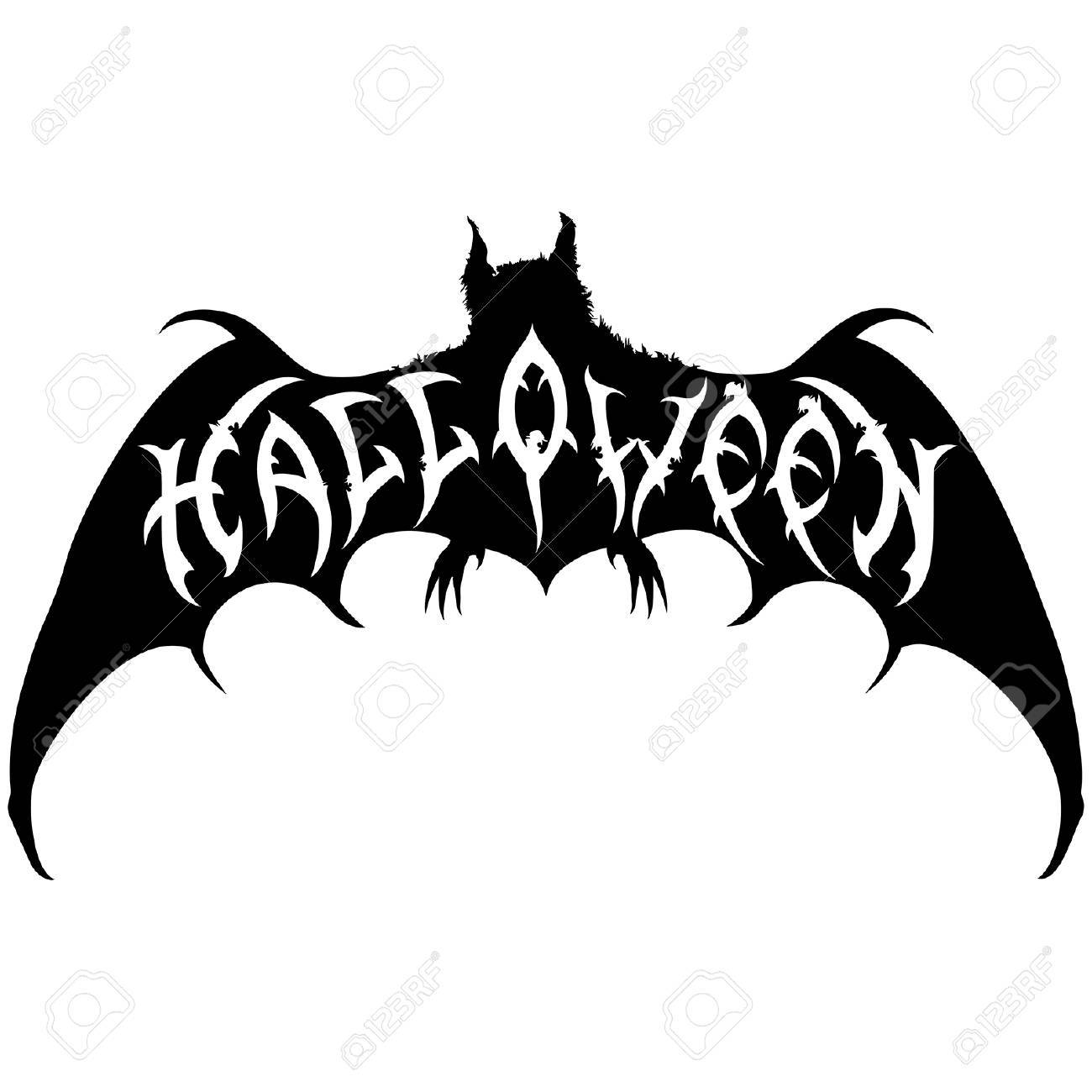 illustration halloween title placed into a bat silhouette handmade text