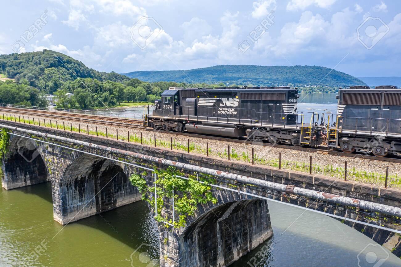 Norfolk Southern Train on the Rockville Bridge - 140139281
