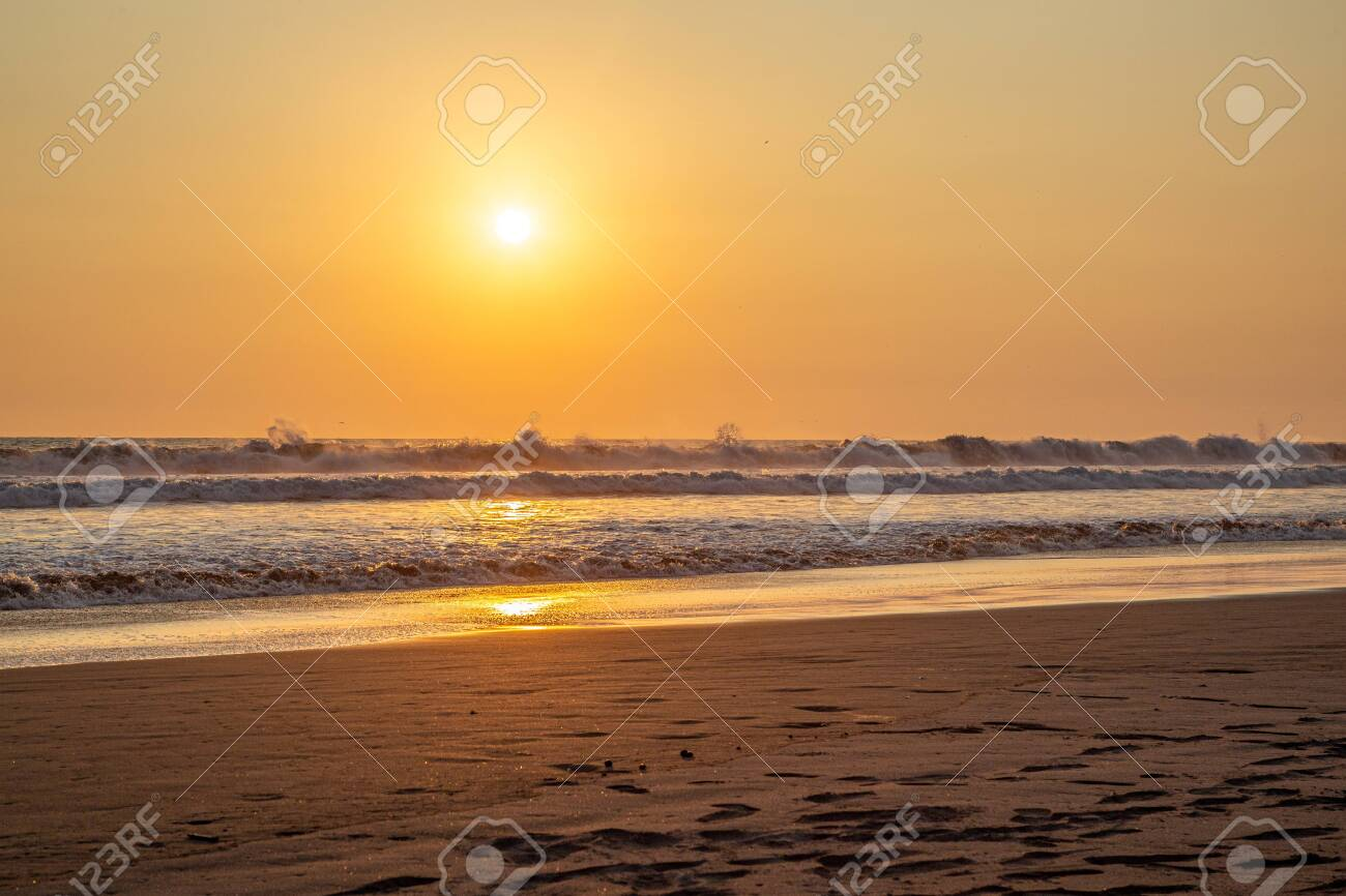 Sunset over the Pacific Ocean in Guatemala - 141184994