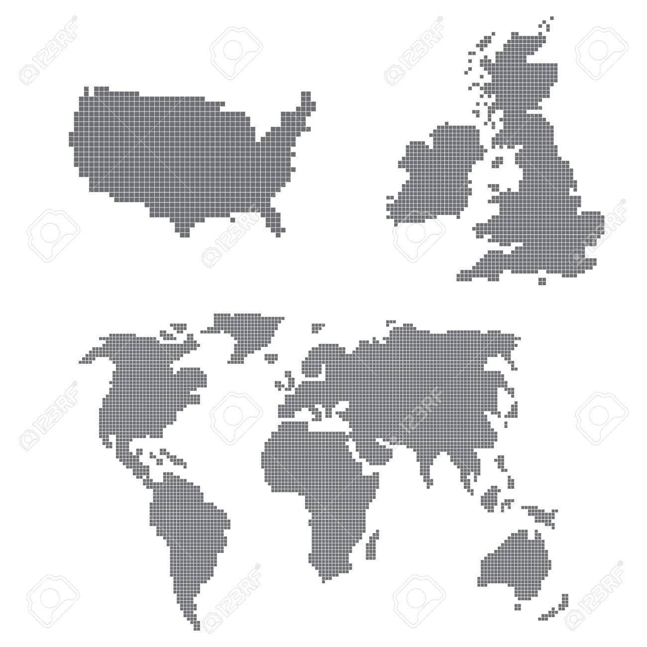 A vector set of pixel art icons with a world map united states a vector set of pixel art icons with a world map united states and united gumiabroncs Images