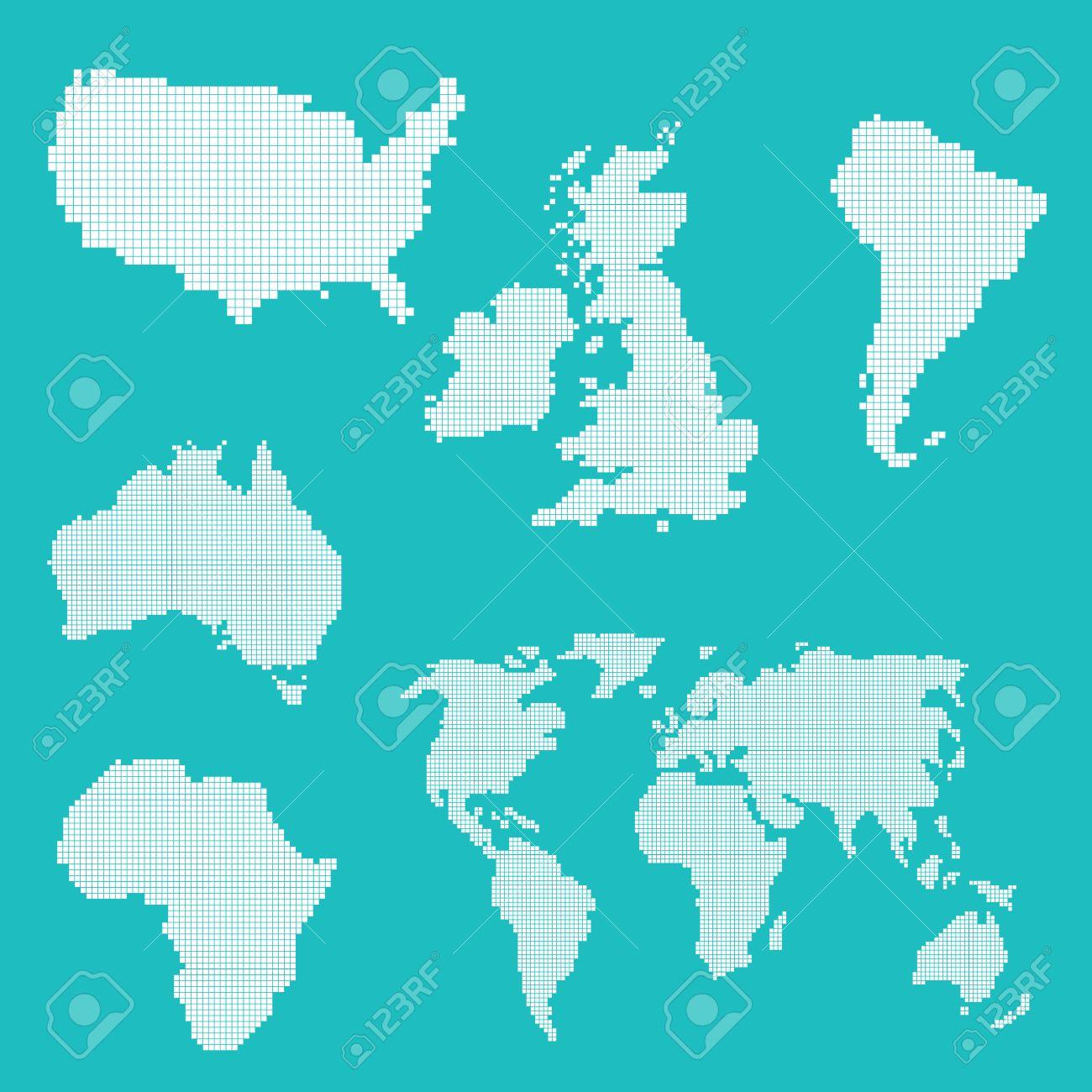 Un Ensemble De Vecteur De Pixels Art Des Icônes Avec Une Carte Du Monde Des états Unis Et Royaume Uni Formes