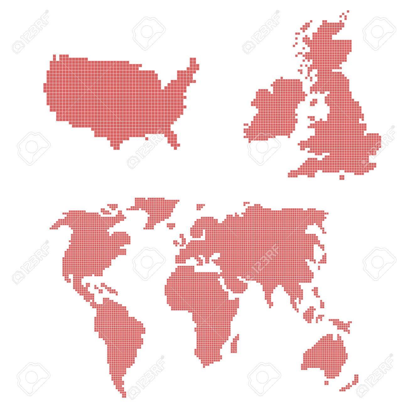 Un Ensemble De Vecteurs Dicônes De Pixel Art Avec Une Carte Du Monde Etats Unis Et Royaume Uni Formes