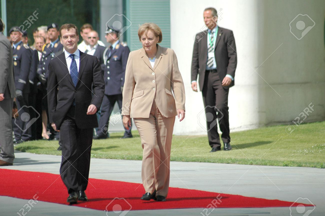 Angela Merkel visit Stock Photo - Dmitri Medvedev Angela Merkel - visit the new Russian president at the German Chancellor, Chancellor's Office, 5th June 2008, ...