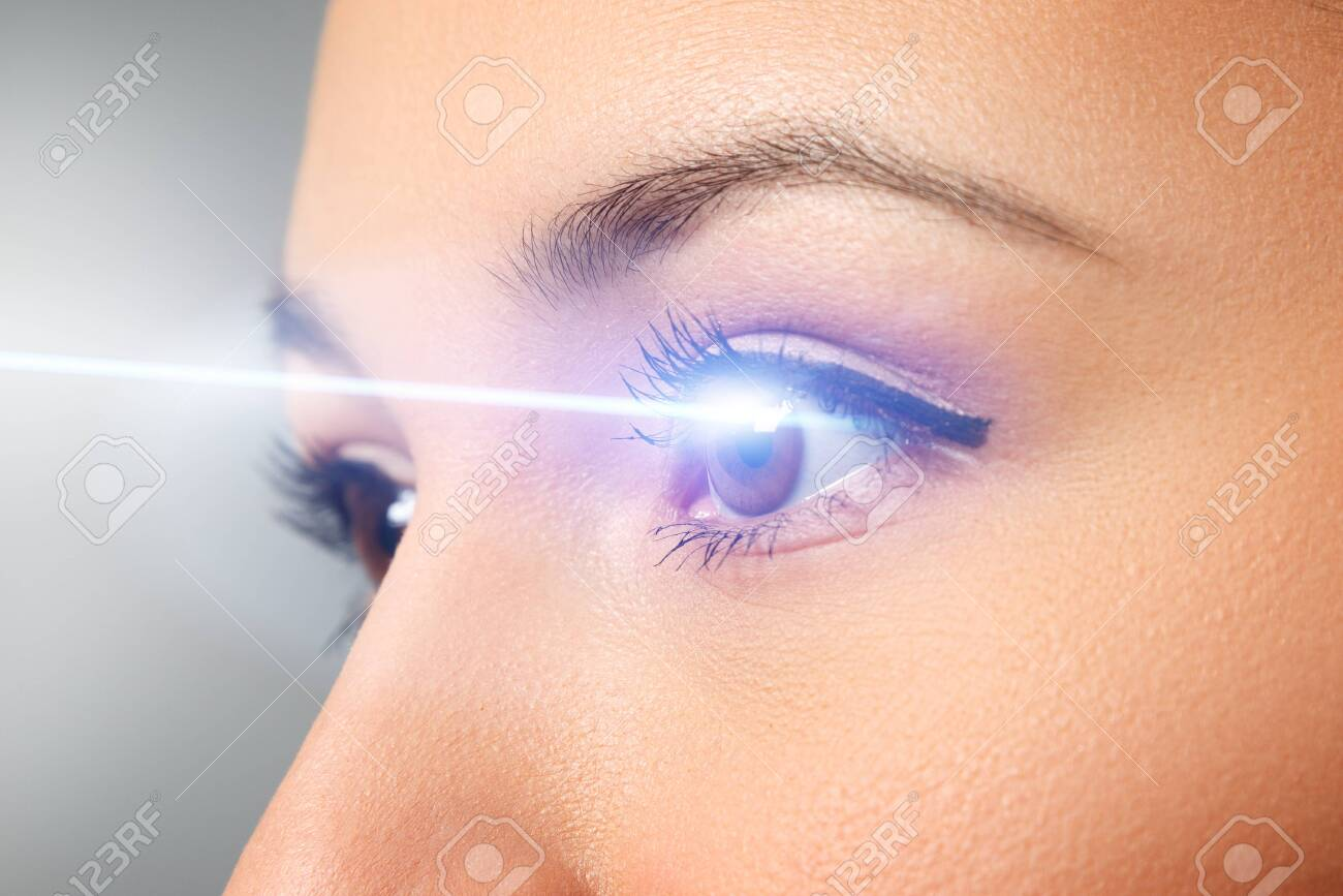 woman's eye close-up. Laser beam on the cornea. Concept of laser vision correction, ophthalmology - 135128519