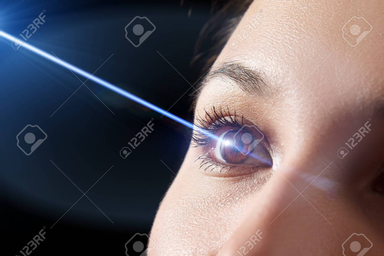 woman's eye close-up. Laser beam on the cornea. Concept of laser vision correction, ophthalmology - 137054895