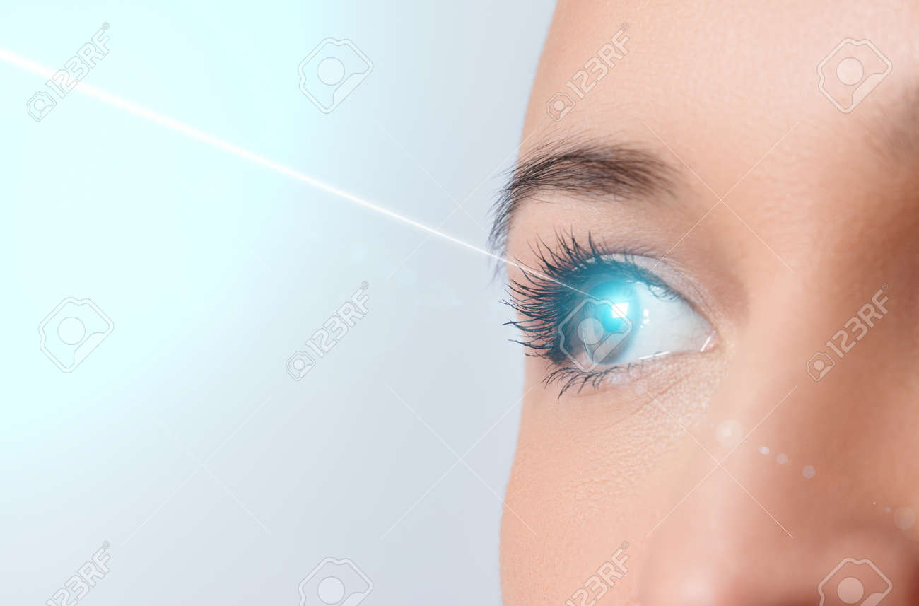 woman's eye close-up. Laser beam on the cornea. Concept of laser vision correction, ophthalmology. - 158649716
