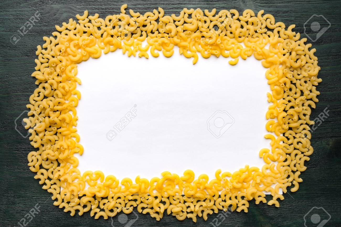 Macaroni Frame On A White Sheet Of Paper Stock Photo, Picture And ...