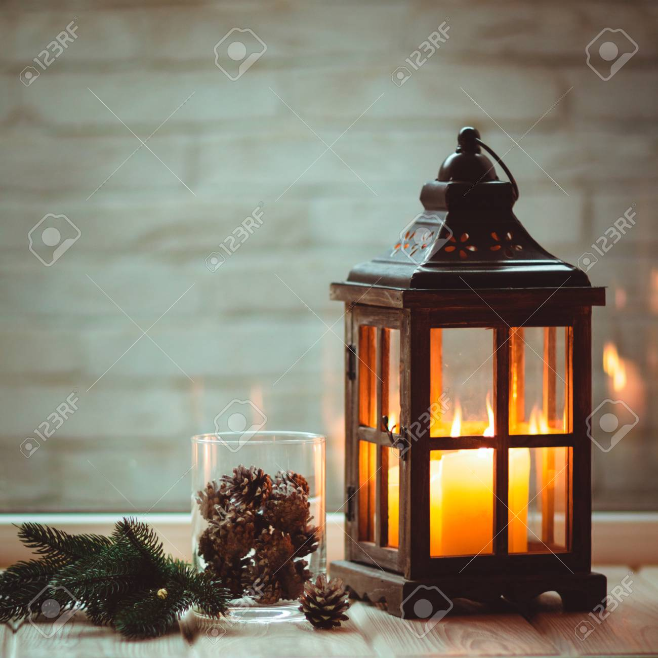 Christmas Lanterns.Christmas Lanterns With Candles Christmas Decor Greeting Card