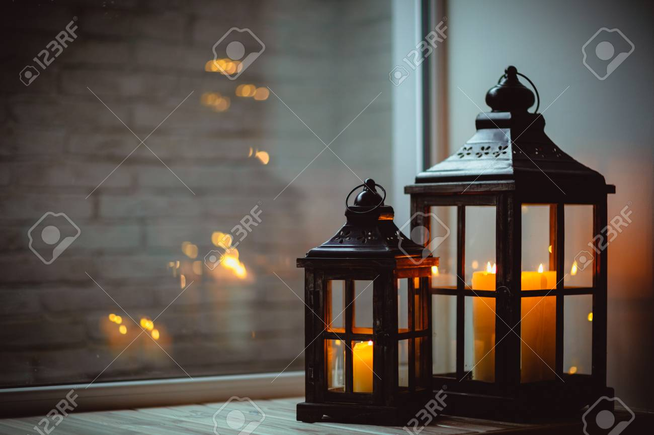 Christmas Lanterns With Candles. Christmas Decor. Greeting Card ...