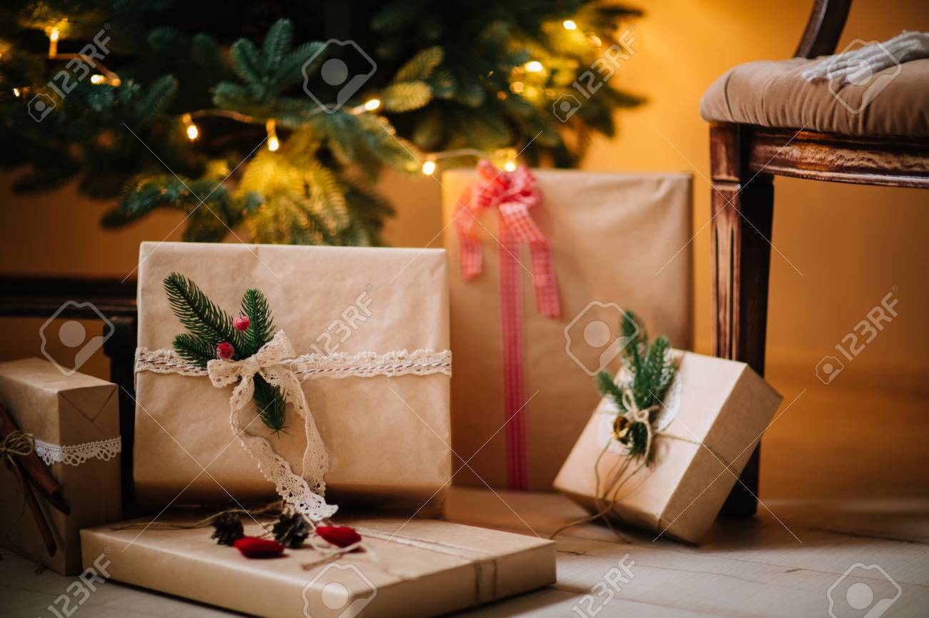 Beautiful Christmas Gifts Under Tree In New Year Decorated House ...