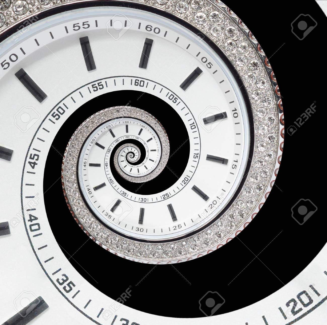 Isolated On Black Futuristic Modern White Clock Watch Abstract