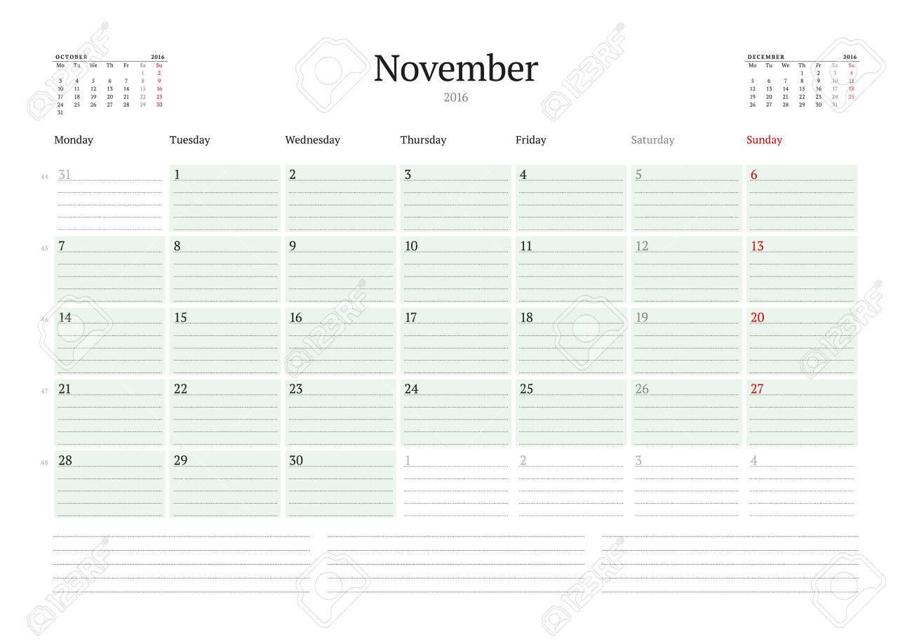 monthly calendar planner 2016 vector print template november