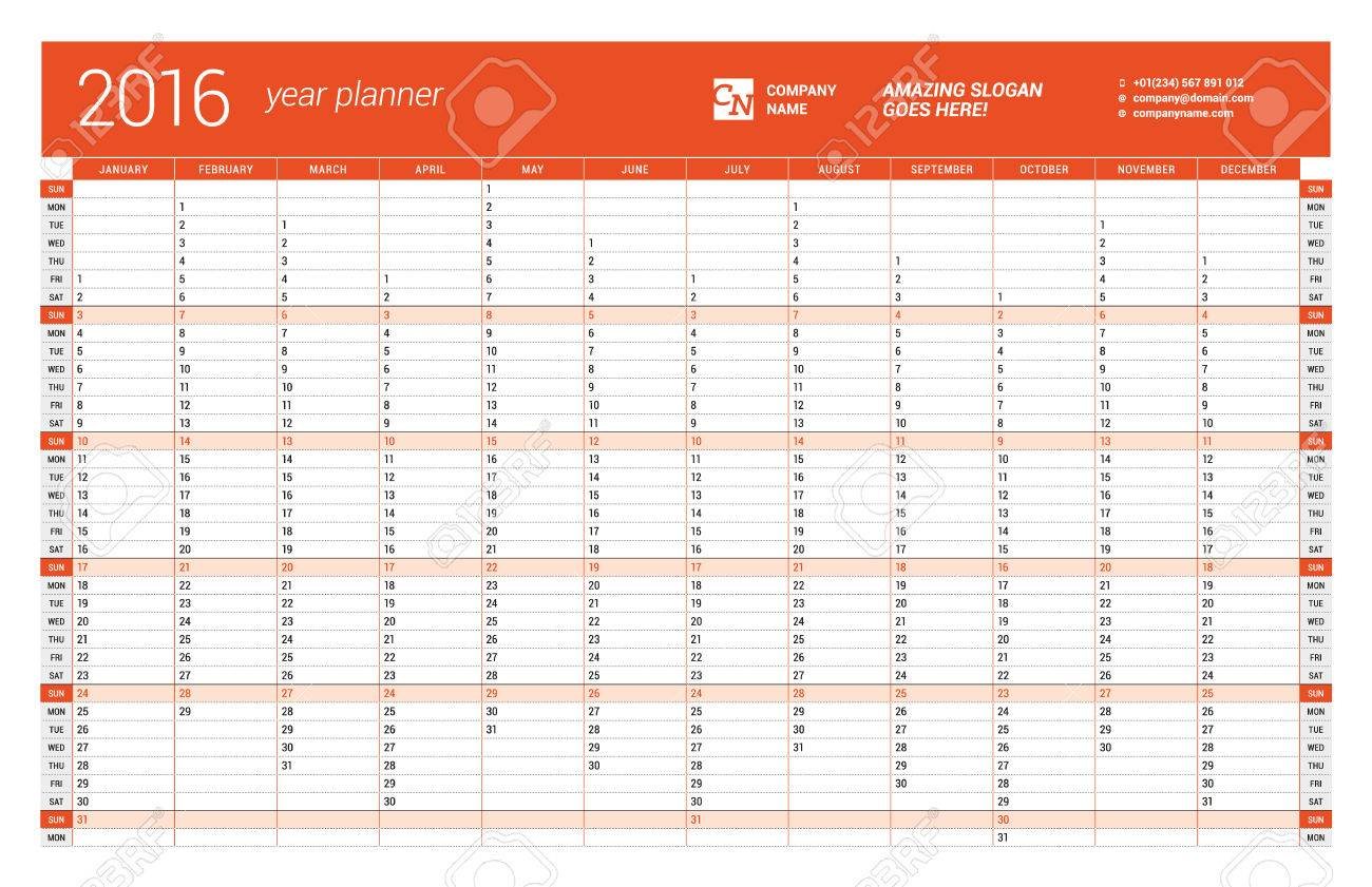Red Calendar Planner 2016 Year. Vector Design Print Template. Week ...