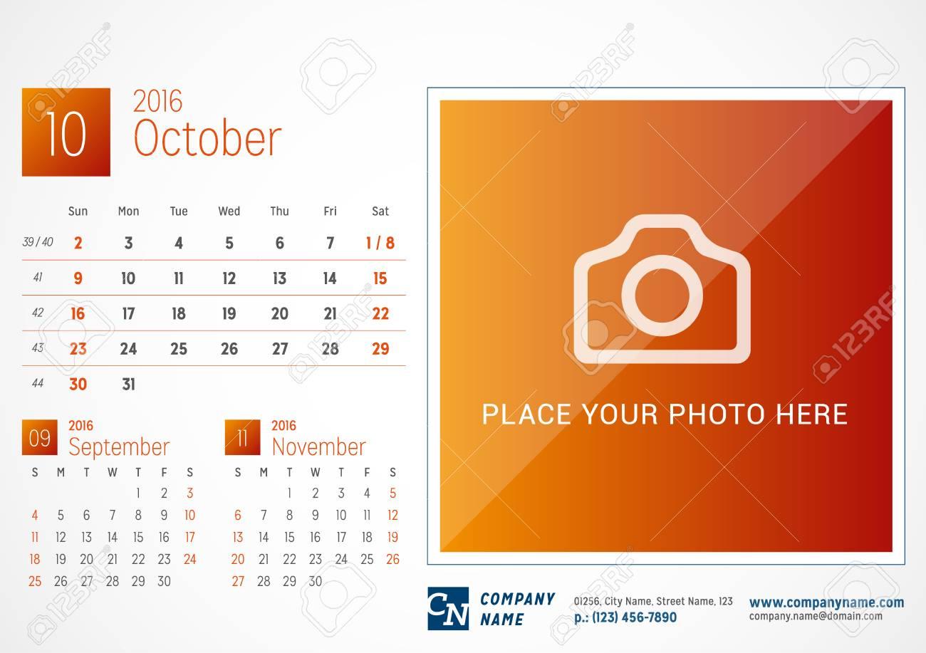 desk calendar 2016 vector print template october week starts
