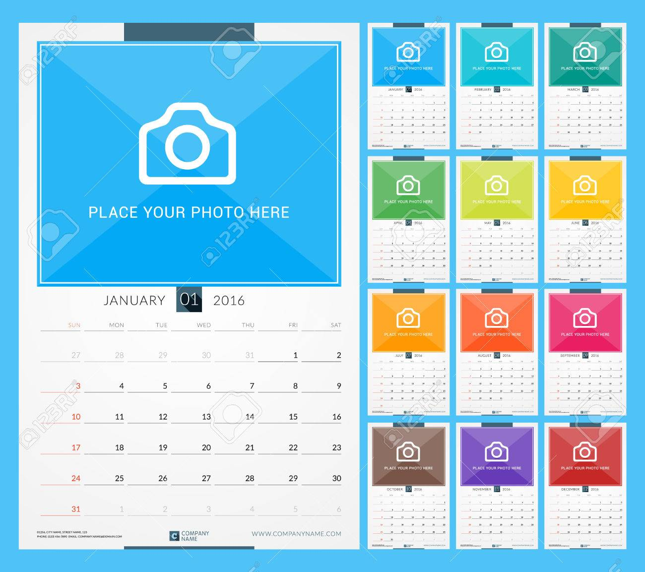 Wall Monthly Calendar For 2016 Year. Vector Design Print Template ...