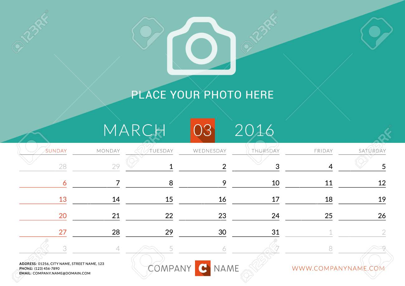 desk calendar 2016 vector print template march week starts