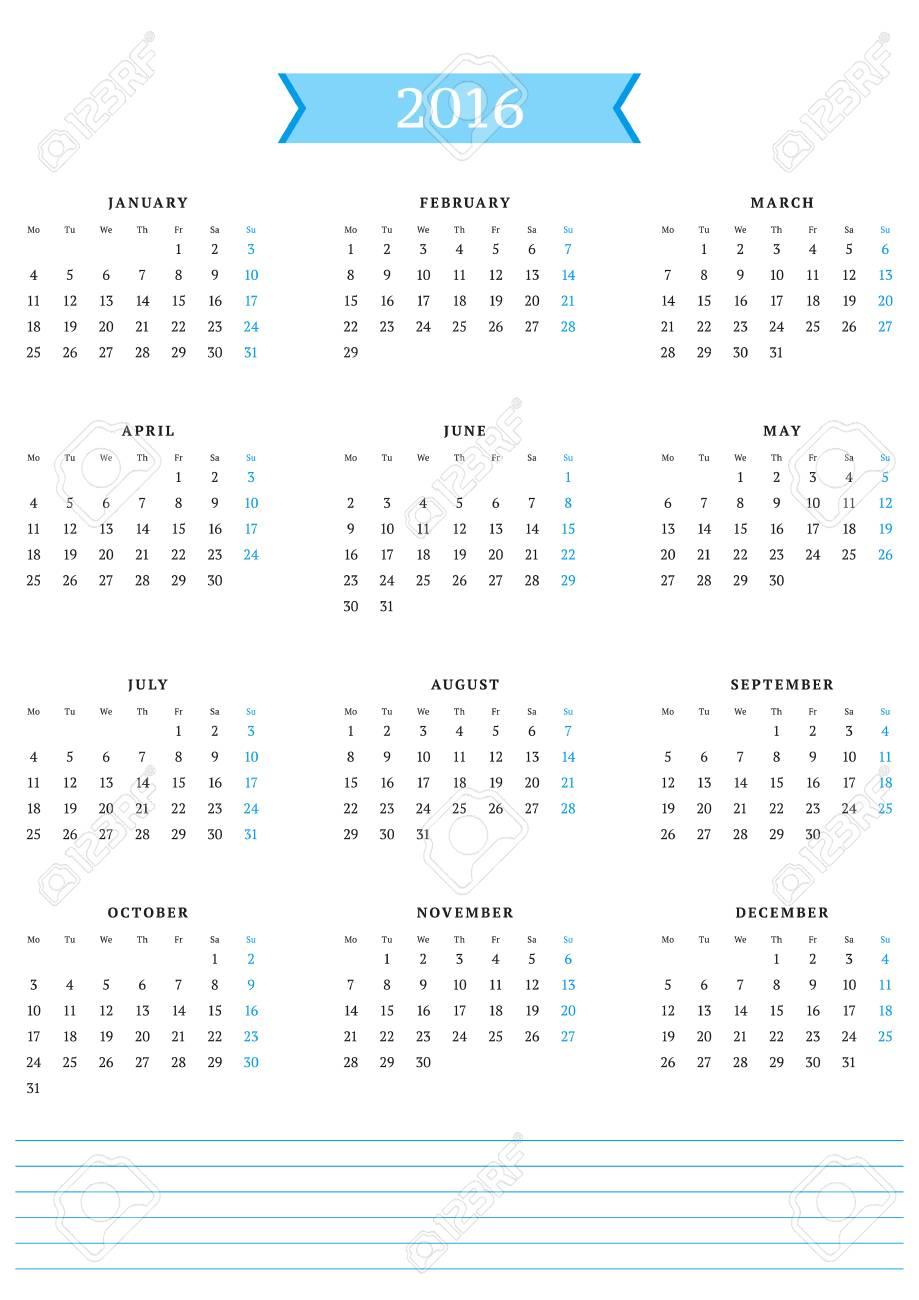 2016 年のカレンダーですベクター デザインの印刷テンプレートです月曜始まり縦向き