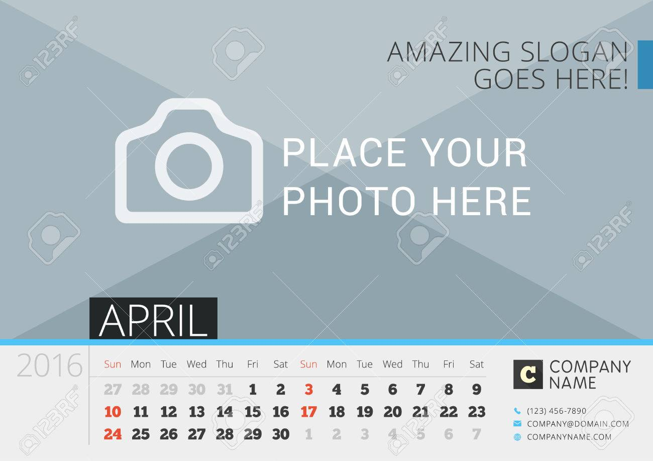 desk calendar 2016 vector print template with place for photo