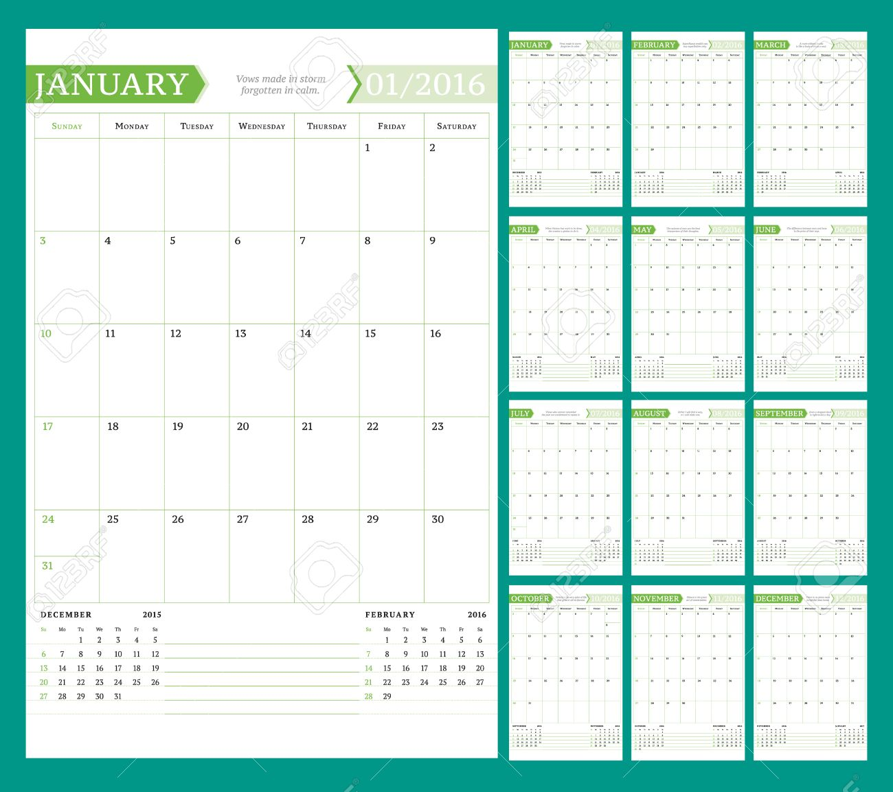 monthly calendar with notes