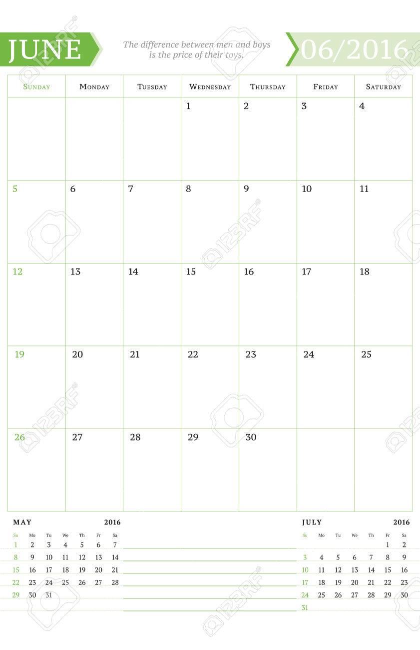 Juni 2016 Monatskalender Planner Für 2016 Jahr. Vector Design Print ...