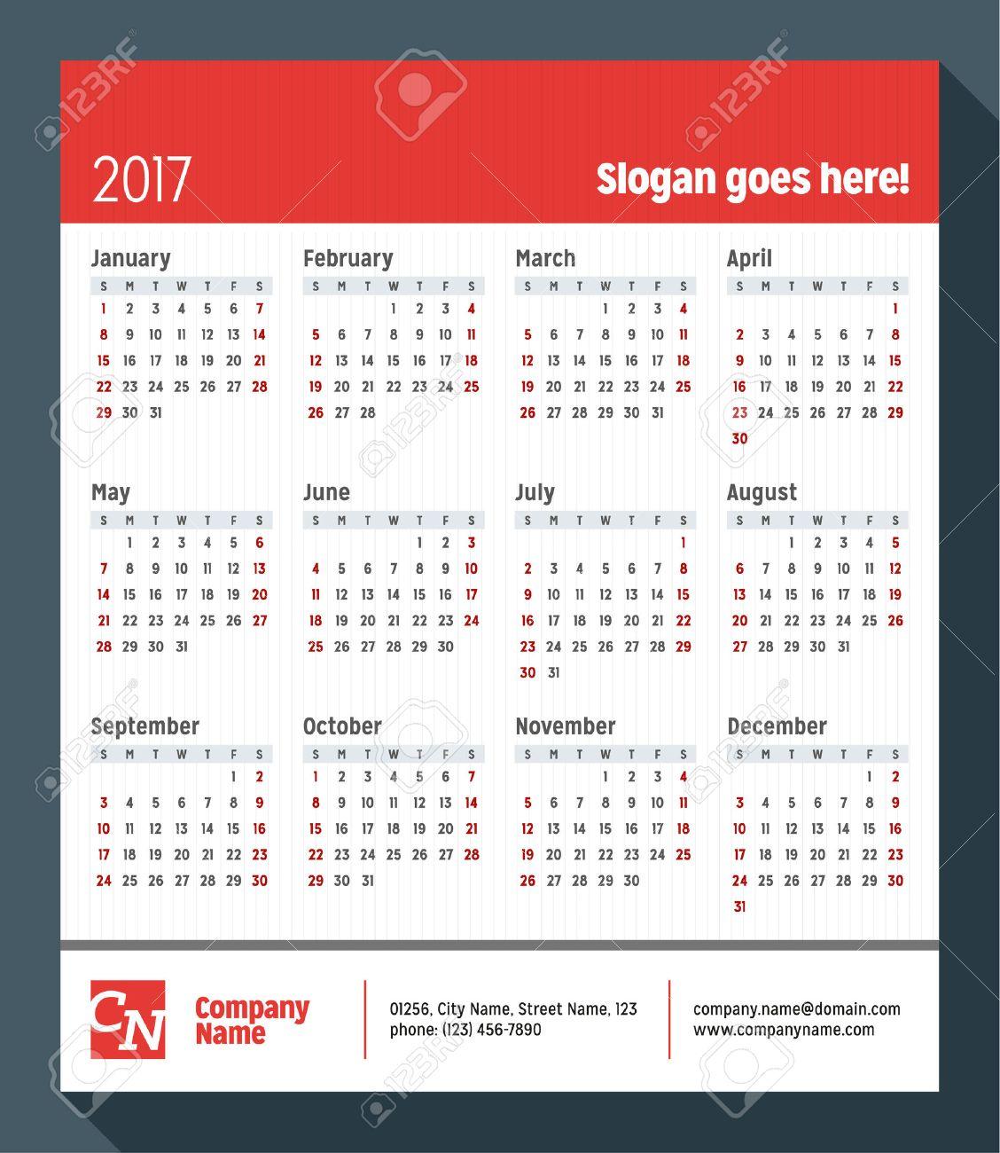 Kalender Für 2017 Jahr. Woche Beginnt Montag. Vector Design Print ...