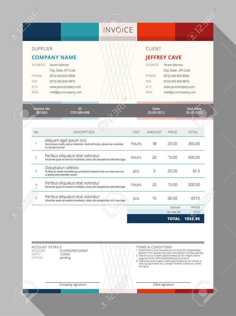 Vector Customizable Invoice Form Template Design. Vector ...