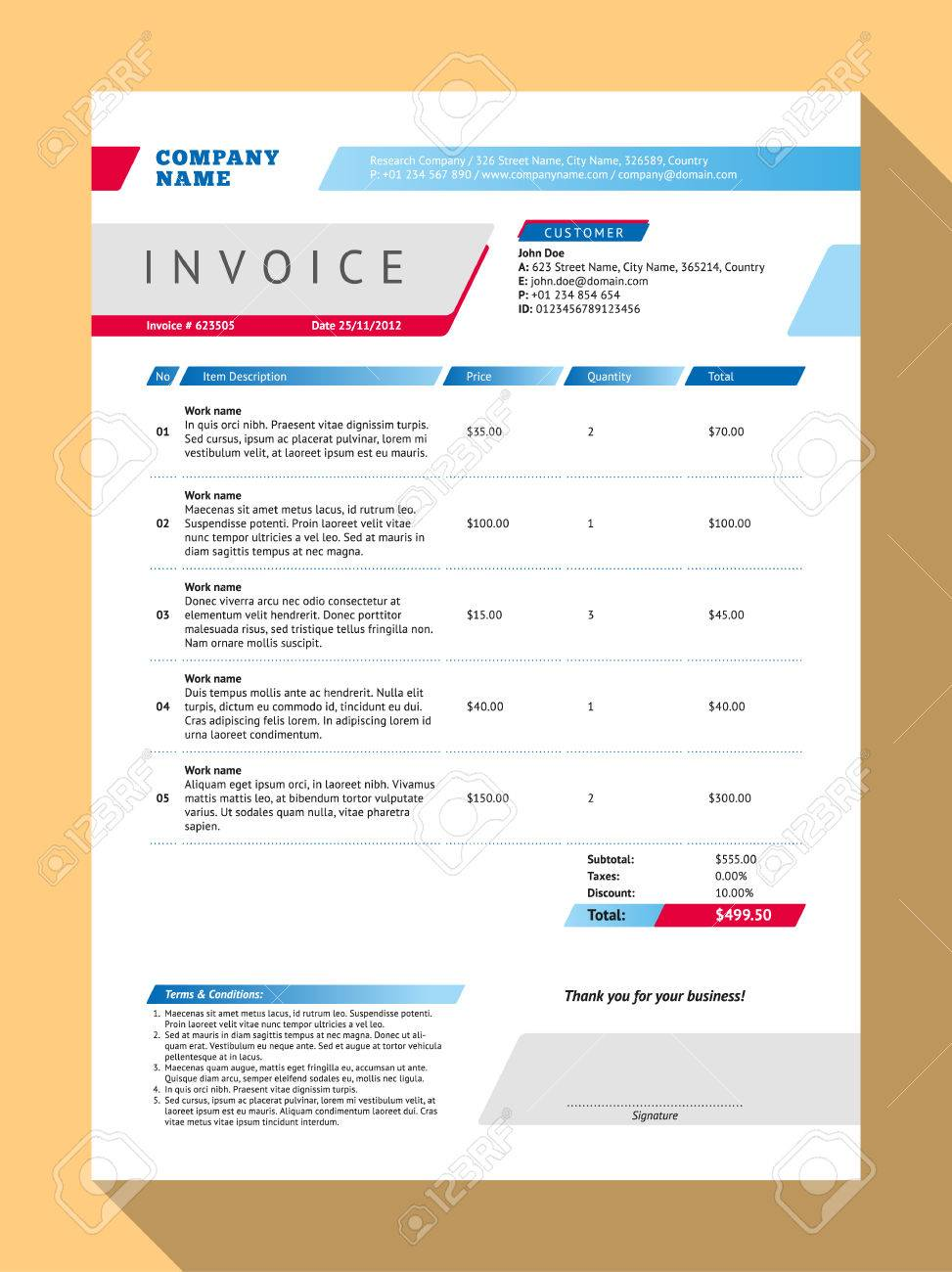 Vector Personnalisable Invoice Form Template Design Vector