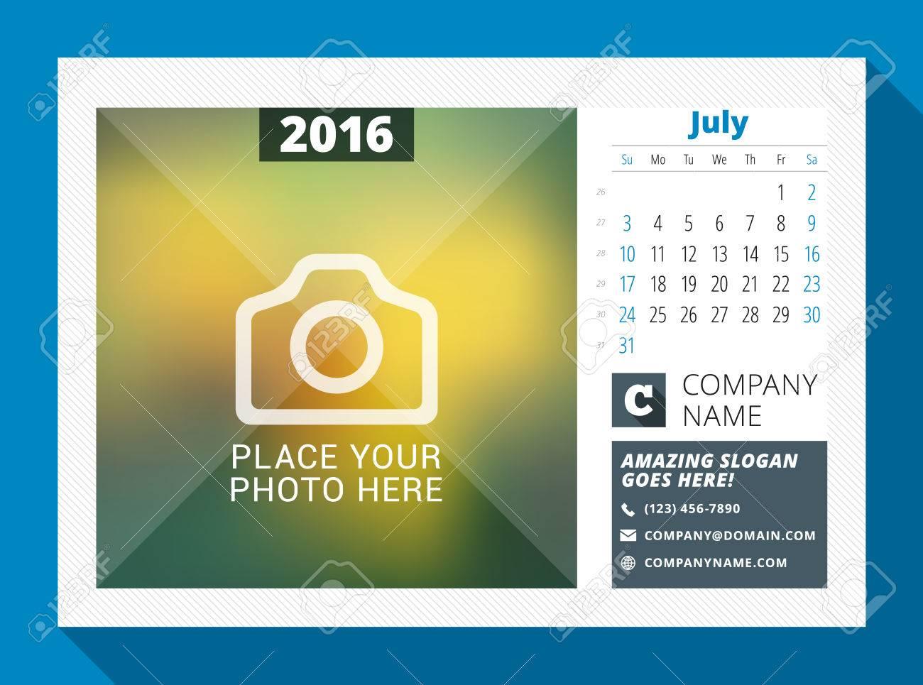 Juillet 2016 Desk Calendar Pour 2016 Annee Vector Design Modele D