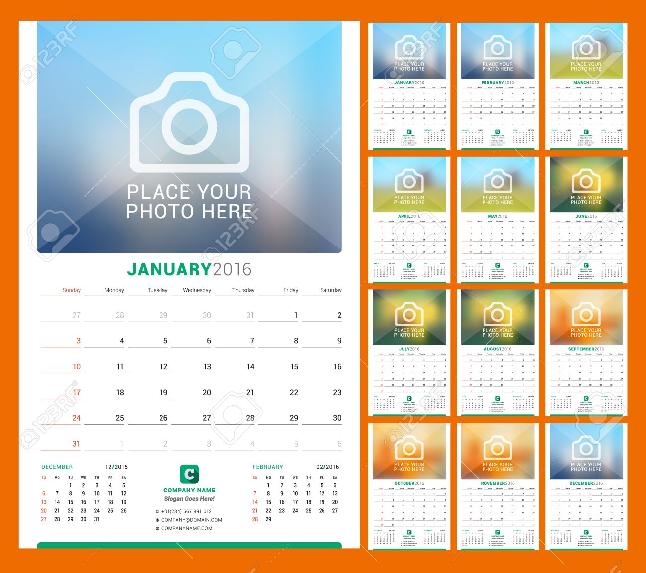 wall monthly calendar for 2016 year vector design print template