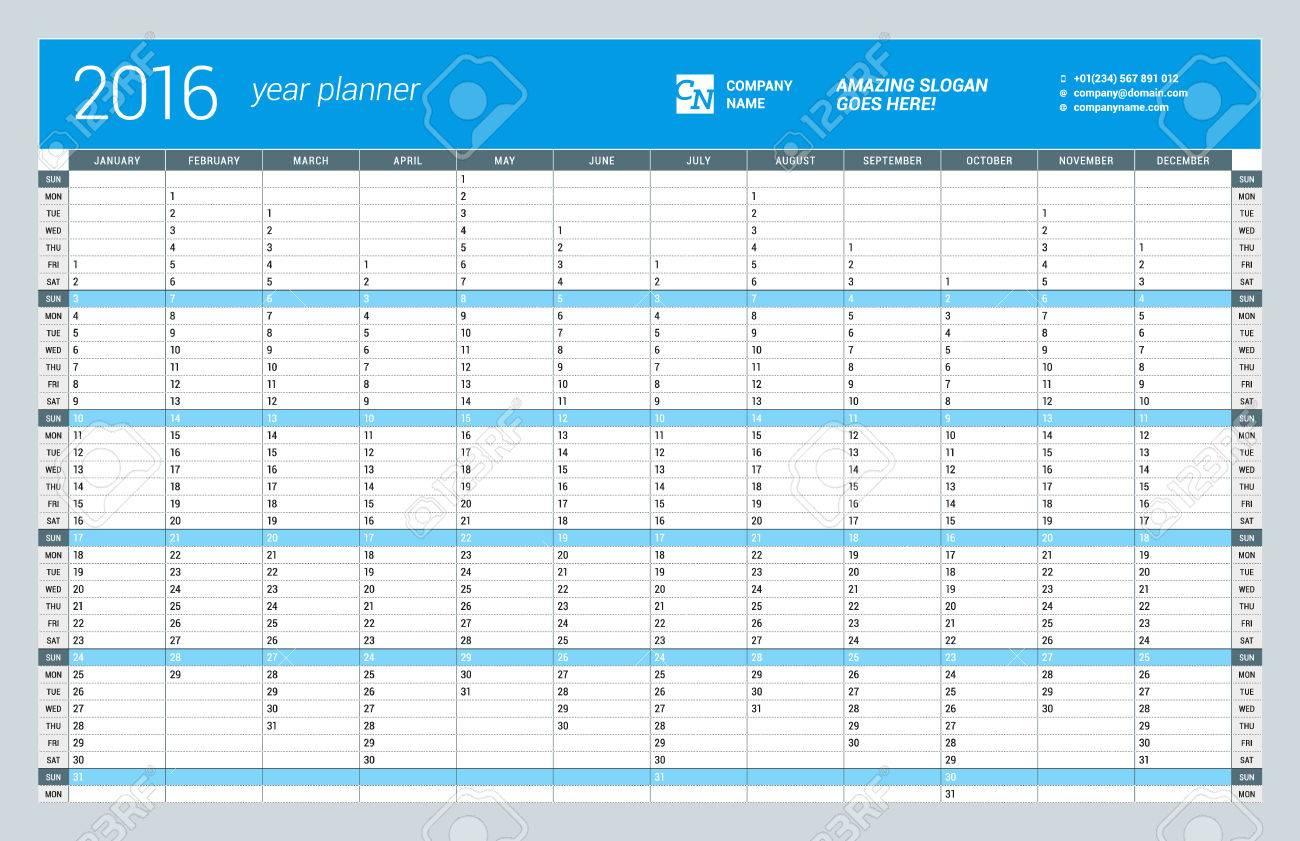 Anual Pared Plantilla Calendario Planificador Para El 2016 Año ...