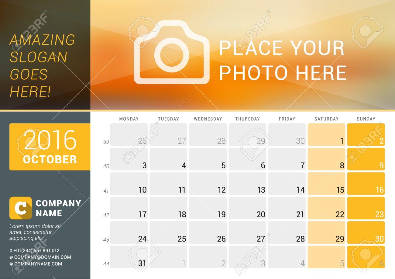 Oktober 2016 Tischkalender Für Das Jahr 2016 Jahr. Vector Design ...