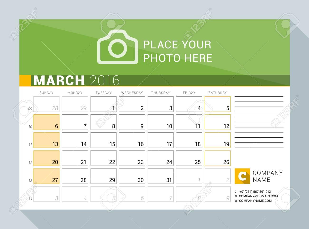 Calendario Con Numero Settimane.Calendario Planner Per L Anno 2016 Marzo Modello Di Stampa Vettoriale Con Posto Per Foto Logo E Informazioni Di Contatto La Settimana Inizia