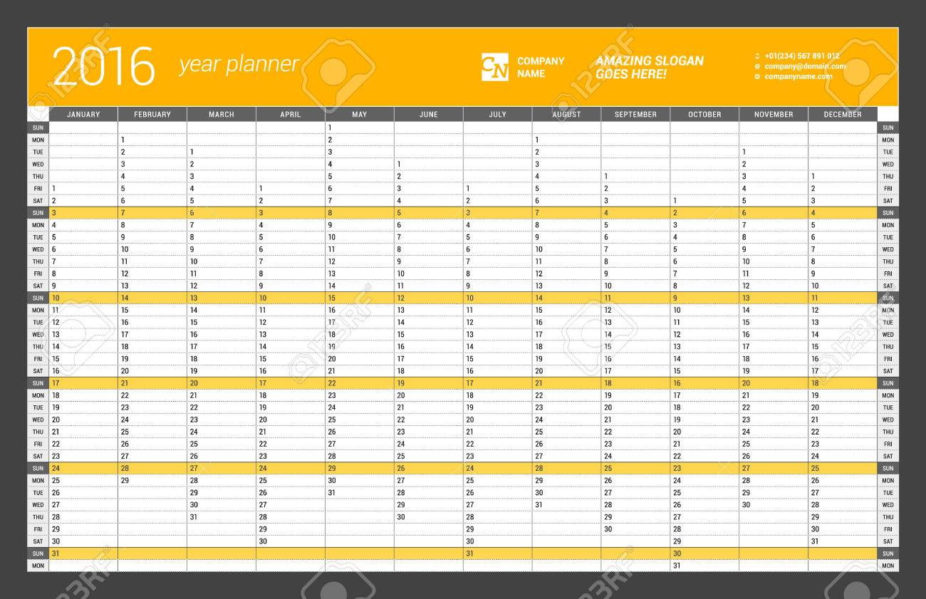 vector yearly wall calendar planner template for 2016 year vector design print template week starts sunday