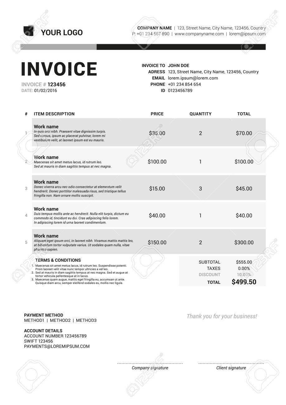 Vector Invoice Form Template Design Vector Illustration Grayscale