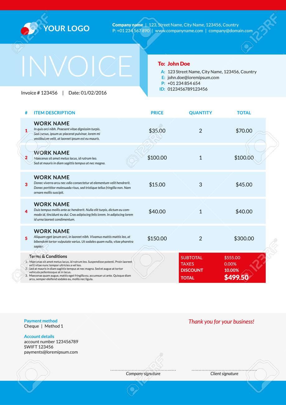 Vector Invoice Form Template Design Vector Illustration Theme