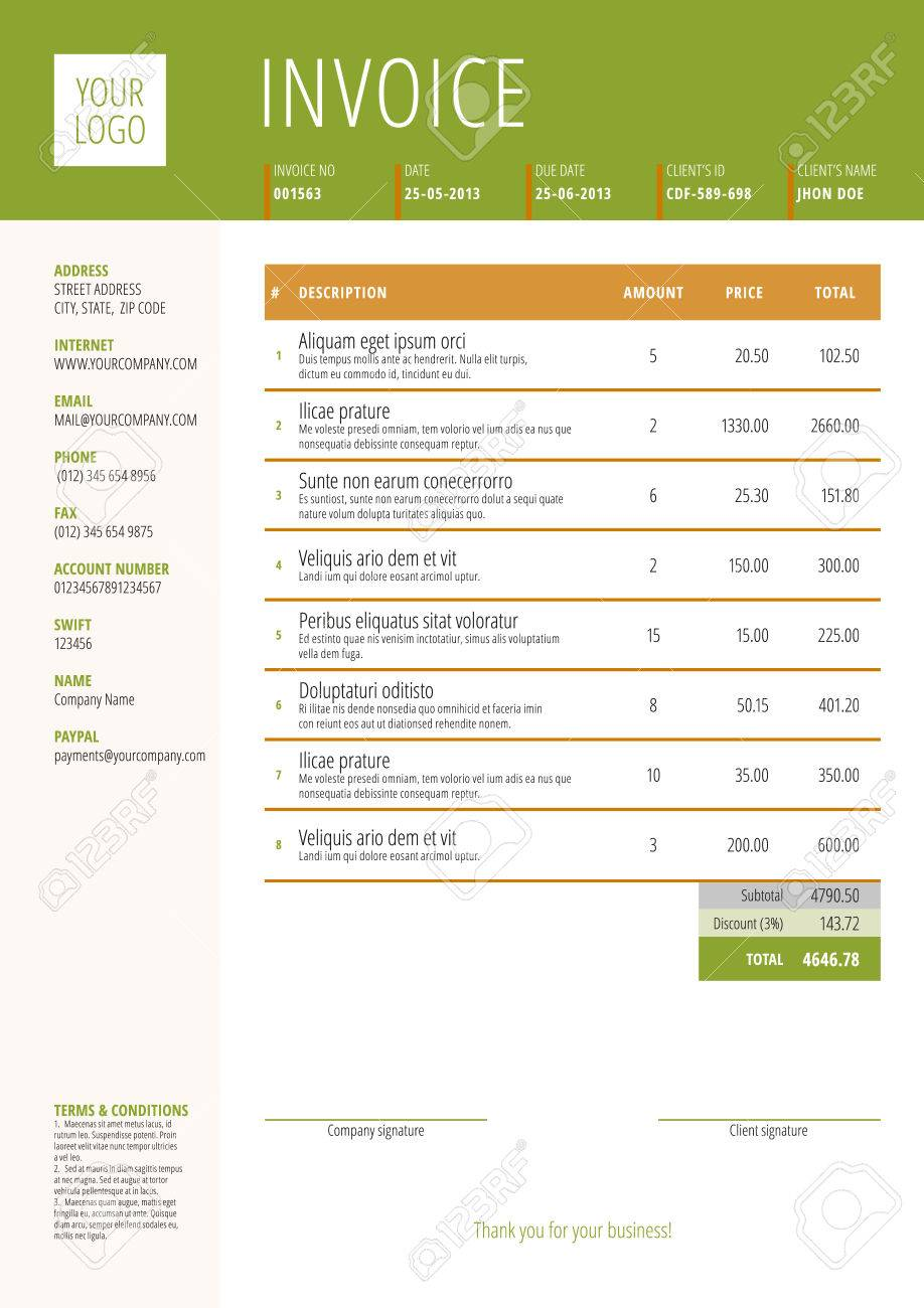 Vector Invoice Form Template Design Vector Illustration Theme Vert