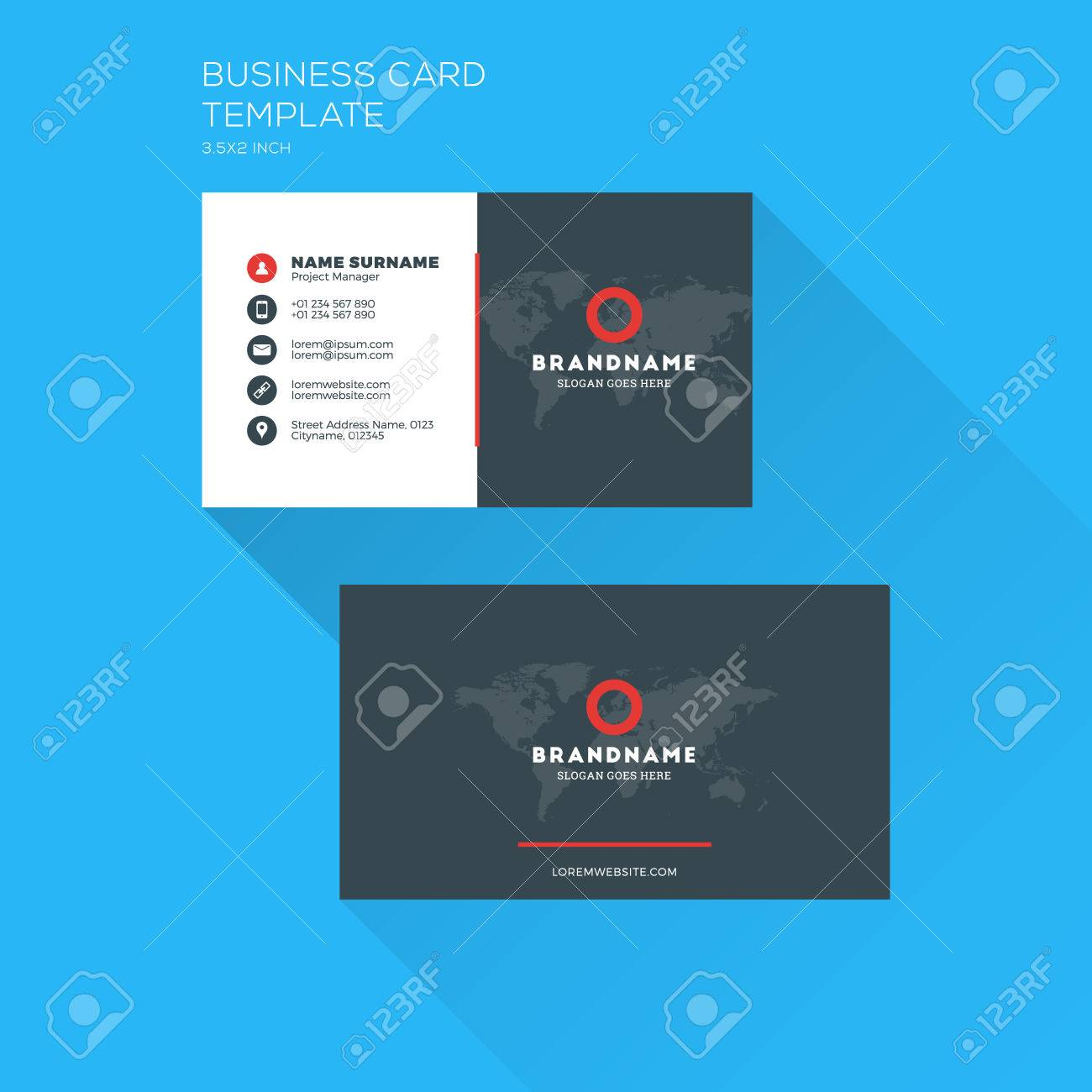 Corporate business card print template personal visiting card corporate business card print template personal visiting card with company clean flat design flashek Choice Image